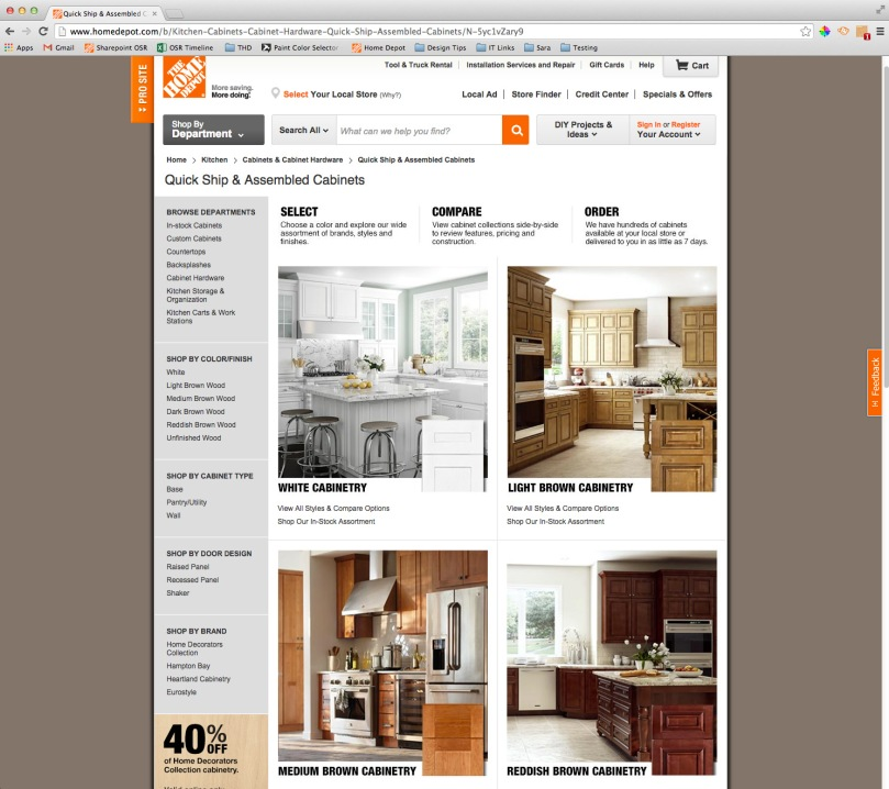 Homedepot.com Assembled Cabinets Page