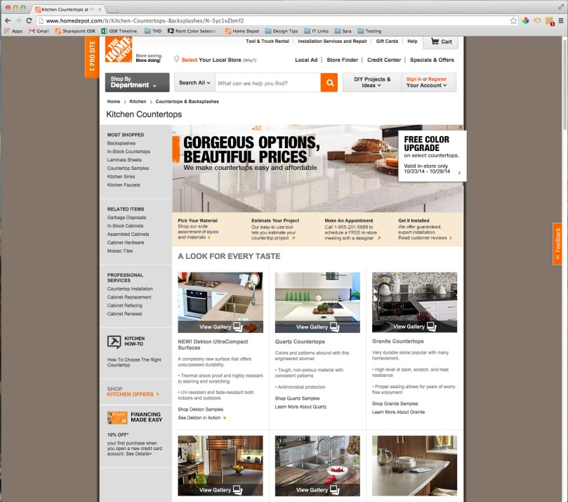 Home Depot.com Countertops Page