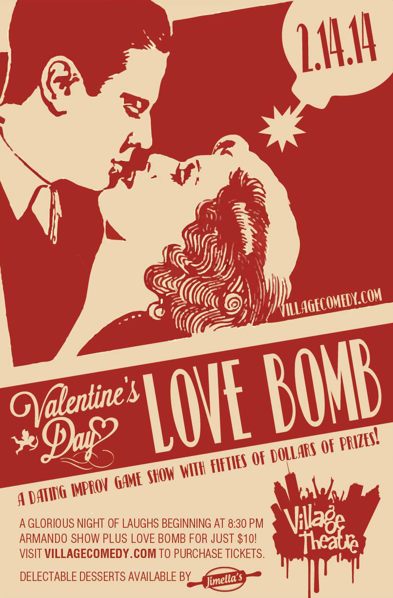 Print Poster for Love Bomb - An Improv Show